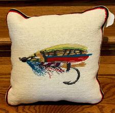 "Rare! NOS Flyfishing Needlepoint Petit Point Pillow 12 X 12"" W Tags Q"