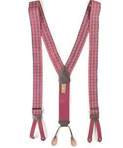 Trafalgar Mens Silk Suspenders Braces Red Plaid Leather Vintage Stripes