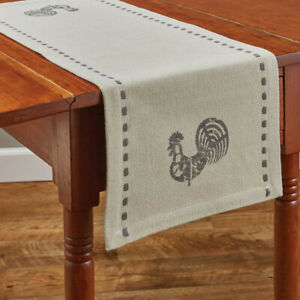 Folk Rooster Stenciled Cream Gray Cotton Country Farmhouse Table Runner