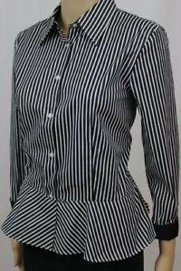 Ralph Lauren Ladies Black And White Striped Ruffle Blouse ~NWT