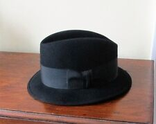 VINTAGE THE ROYAL STETSON BLACK FEDORA HAT Size 6-7/8 Ivy League Very Good Cond