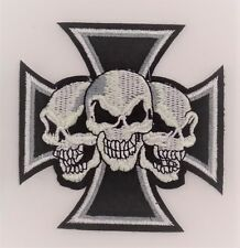 PATCH  ÉCUSSON THERMOCOLLANT BIKER MOTO HARLEY ROUTE66 SKULL TETE MORT CROIX