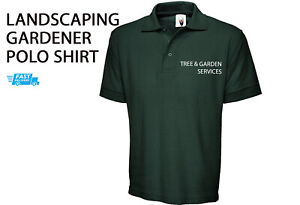 Gardener POLO SHIRT Landscaping Tree Work Wear Mens Front TEXT Embroidery ONLY