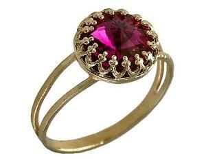 14K Yellow Gold Plated swarovski ring ,5,6,7,8 PINK SWAROVSKI fuchsia ring