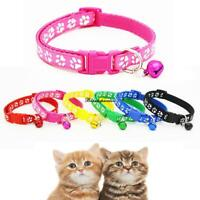 Pet Collar Dog Cat Footprint Safety Adjustable Nylon Leash Collars with Bell