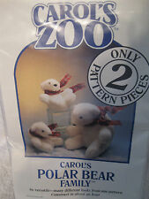 Carols Zoo 2 pattern pieces Polar Bear Family Versatile Sewing Crafts_B10