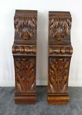 "11.4 "" Two Antique French Carved Walnut Wood Corbel - Pillars- Brackets Salvage"