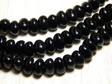 25 Black Shiny Nugget Beads 6x8mm Czech Glass Spacers Opaque Jet T-35B