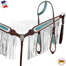 Western Horse Headstall Breast Collar Set Tack American Leather Turquoise U--SET