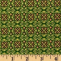 Tis The Season Foulard Green Christmas 100% cotton fabric by the yard