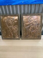 Vintage Hammered Embossed Copper Wood Wall Plaque