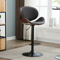 Bentwood Bar Stools Set of 2 Adjustable Swivel Faux Leather Bar Chairs Antique