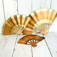 Vintage MCM Copper Color Fans 3 pc Graduated Set Mid Century Modern Home Decor