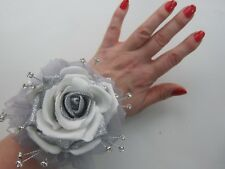 Silver & White Wrist Corsage Prom / Wedding Flowers Rose Bride Maid Mother