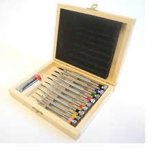 Watchmakers Genuine 9 screwdrivers set in wooden box (Made in France) - HS98