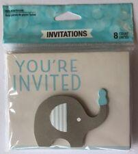 +Baby Shower Boy Little Peanut Elephant Party Invitations 8 pk Invites Blue