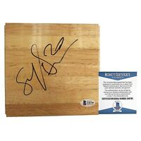 Brittney Sykes Atlanta Dream Syracuse Signed Basketball Floor Board Beckett BAS