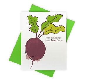 Cute Pun Vegetable Heart Beat Love Handmade Greeting Card for Partner or Spouse