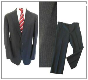 """Magee Vintage 1980s mens 2 piece suit Ch46""""R W42"""" L29"""" Grey Stripe Worsted wool"""