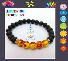 Bracelet 7 chakras pierre de lave Yoga Bouddha AGATHE JAUNE CHAKRA PLEXUS  T10