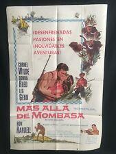 Beyond Mombasa 1956 Spanish One Sheet Movie Poster Donna Reed Cornel Wilde