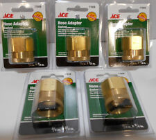 "5 Lot  3/4"" F GHT x  3/4"" F Pipe  Brass Garden Hose Lawn Adapter Fitting"