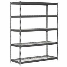 "Garage 5 Shelf Shelving Storage Rack 60""W x 24""D x 78""H Heavy Duty Steel Black"