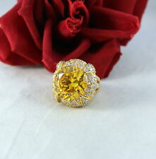 Sterling Silver Qvc 23g Sparkling Yellow Cocktail Ring Size 7 Cat Rescue