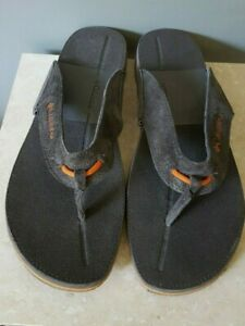 Columbia Men's Solna Omni Grip Flip Flop Dark Grey Suede Orange Trim Sz 12 NEW