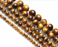 "4/6/8mm Natural Yellow Tiger's Eye Round Gemstone Loose Beads 15"" AAA+"