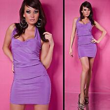 Vestito collo abito mini con volant violetto
