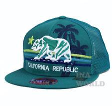 California Republic hat Bear Snapback Mesh Trucker Flat bill Baseball cap- Teal
