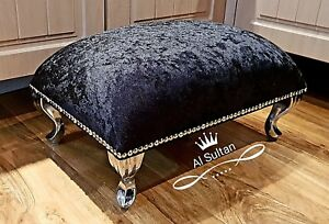 Large Crushed / Plush Velvet Pouffe Footstool With Chrome Queen Anne Design Feet