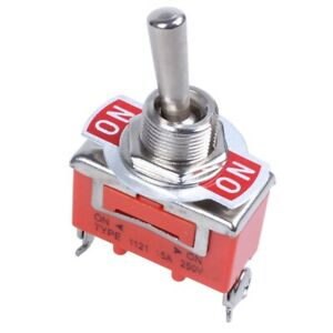 AC 250V 15A ON / ON 2-way SPDT Screw Terminals Toggle Switch M2F5