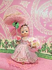 Vtg Pink Shopper Bloomer Southern Belle Girl W PINK LACE Umbrella UCAGCO SWEET