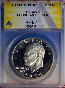1974-S $1 Silver Eisenhower PF 67 DCAM ANACS  # 7149606 & Bonus
