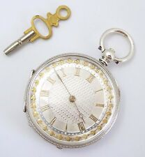 Antique  Late 1800s Swiss Hallmarked Fine Silver Applied Gold Dial Pocket Watch