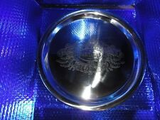 "Partagas etched cigar logo metal platter 15"" diameter in the box"