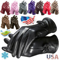 Gloves Women's Genuine Lambskin Leather Solid Winter Warm Driving Soft Lining