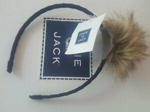 janie and jack NWT Faux Fur Pom pom headband 2 3 4 5 6 hair New navy Winter