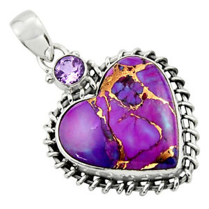 16.32cts Purple Copper Turquoise Amethyst Heart Sterling Silver Pendant R43921