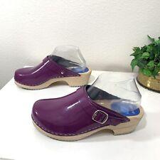Cape Clogs Patent Leather Mules Wooden Clogs Purple Size 39 US 8.5