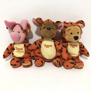 Disney Store Pooh Dressed As Tigger Piglet Roo  2000 Bean Bag Plush Rare