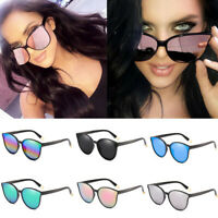UV400 Square Cat Eye Vintage Oversized Flat Women Eyewear Sunglasses Mirror