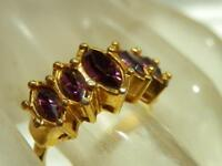 Avon Signed Size  6  Purple Rhinestone Navette Gold Tone Vintage 80's Ring 109J9