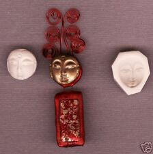 Small Asian Lady's Face Handmade Polymer Clay Push Mold Nice!