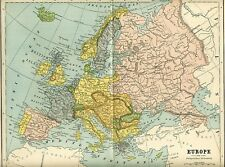 Europe Spain Italy France Russia ++ 1882 Antique map