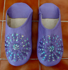 MOROCCAN * PURPLE  LEATHER SEQUINED SLIPPERS 4/37