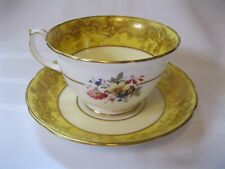 Vintage Hammersley & Co Cup and Saucer Yellow Band with Gold and Floral Accents