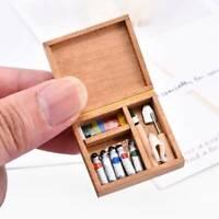 Dollhouse Miniature Artist Wood Paint Box Set Pigment Home Decor Accessory 1:12